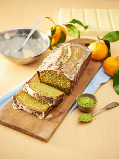 Matcha white chocolate pound cake with tangerine sesame seed glaze