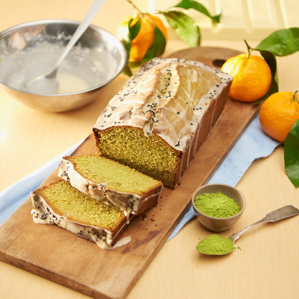 Matcha White Chocolate Pound Cake with Tangerine Black Sesame Seed Glaze