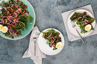 Spinach and Arugula Salad with Bacon and Sautéed Mushrooms