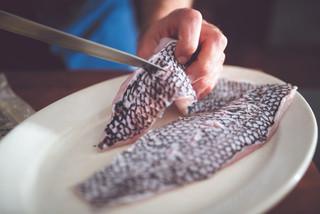 Preparing the black sea bass