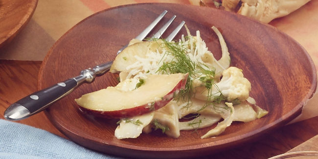 Cauliflower, Fennel, and Pear Salad with Garlic-Anchovy Dressing