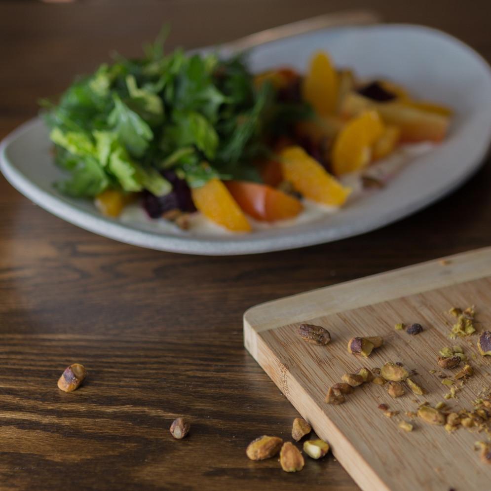 Roast Beets, Sour Cream, Dill, Parsley and Orange Segments