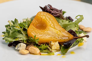 Pear and Blue Cheese Salad with Saffron Vinaigrette