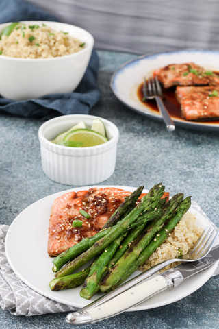 Maple and Soy Glazed  Salmon with Asparagus