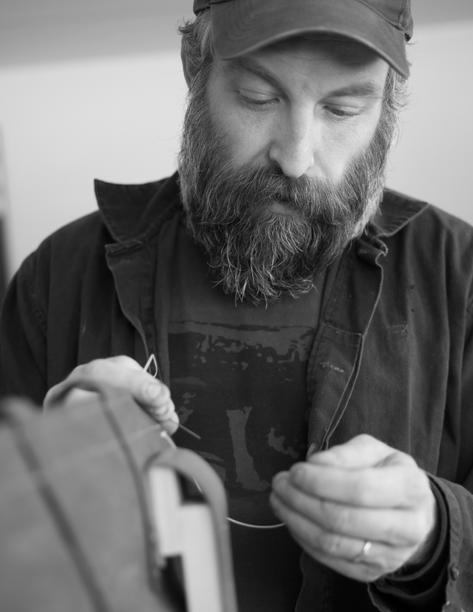 Chef-turned-leatherworker  Erik Desjarlais in his studio.