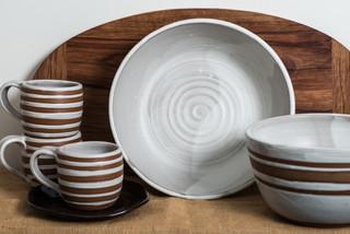 Lulu Ceramics tableware in alabaster glaze with raw clay stripes