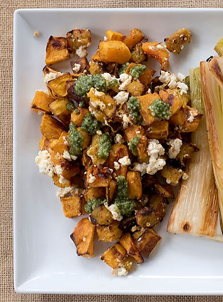 Roasted Squash with Sheep's Milk Feta and Pesto