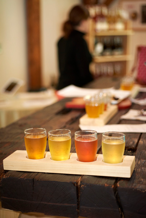 Buchanan offers flights of ciders with small plates in his tasting room