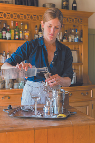 Salt Water Far's chef/owner Annemarie Ahearn mixing martinis