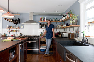 Seaver at home in his kitchen