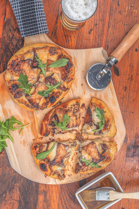 Pizza featuring grilled wild Maine mushrooms