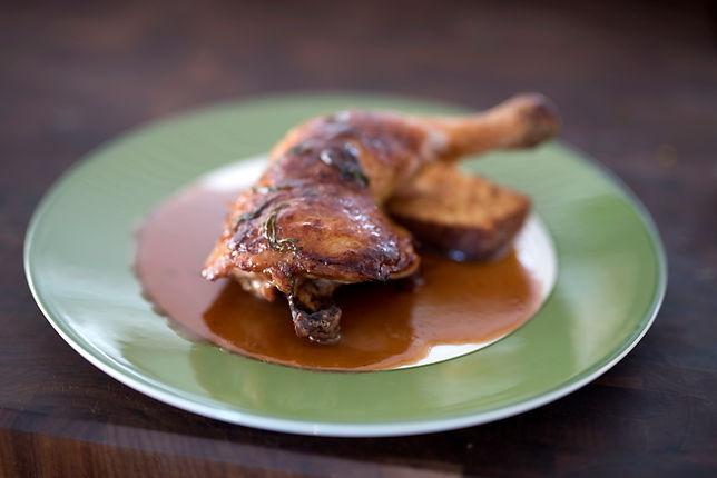 Roasted Chicken Legs with Bourbon-Maple Glaze