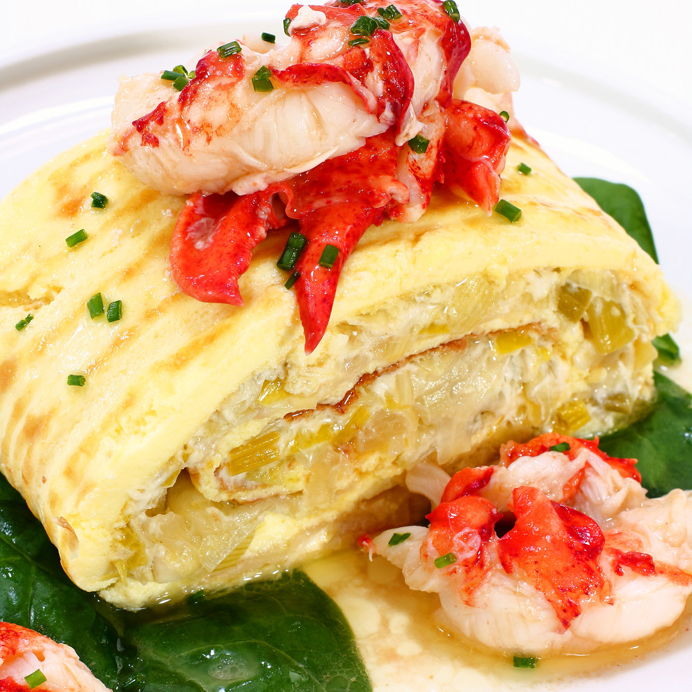Egg Roulade with Leeks, Parmesan, Lobster and Sherry Butter
