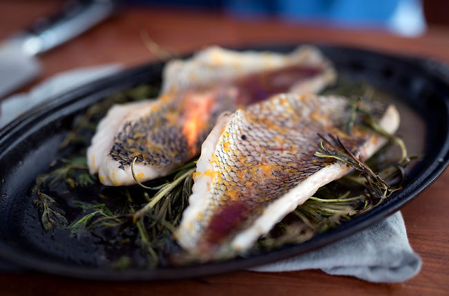 Broiled Black Sea Bass Flambé*