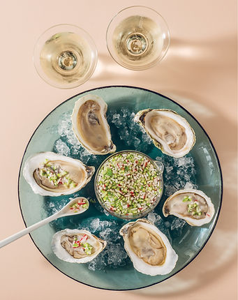 Oysters with Cucumber Radish Mignonette