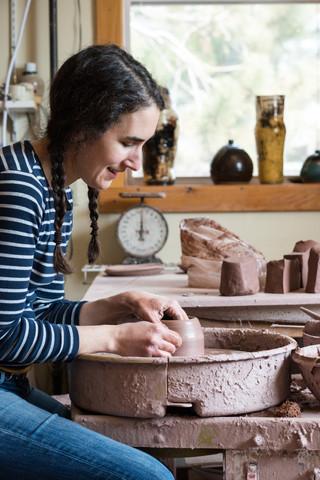 Lulu working in her studio