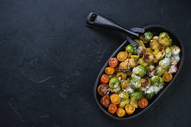 Roasted Brussels sprouts with Cherry Tomatoes