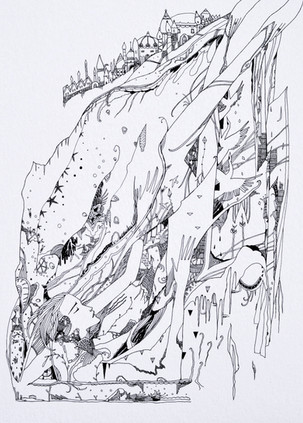 """Resurfacing 42 x 30 cm pigment ink on paper   """"She emerged from those buildings  like a fish through seaweeds.  The buildings sway and give with the push, Though they shine with the emeralds, We bestowed upon them.""""  - The Islands of Niljora"""
