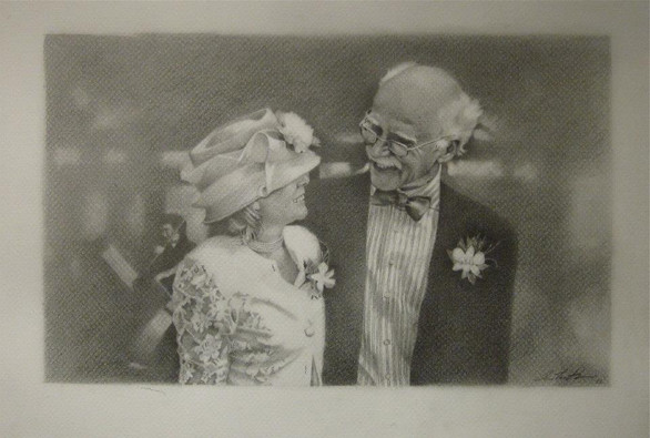 Wedding Portrait graphite on paper  Private collection, Wellington, New Zealand
