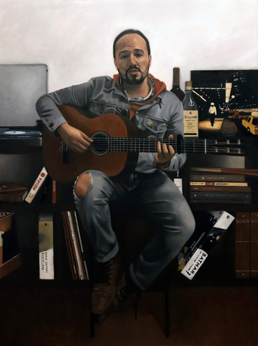 The Guitarist 90 x 120 cm oil on canvas  Available  14th INTERNATIONAL A.R.C. SALON FINALIST