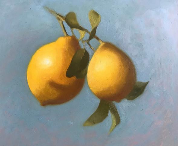 When Life Gives You Lemons 28 x 25 cm oil on copper  Framed