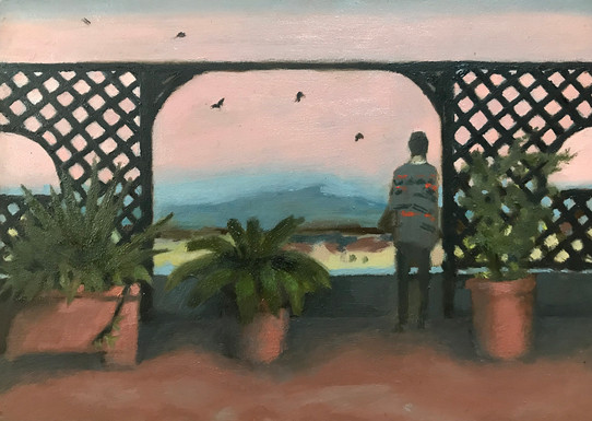 Hubert & The Swifts oil on panel 12 x 20 cm  Painting created on the balcony  during quarantine.