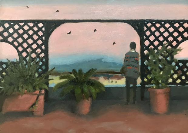Hubert & The Swifts oil on panel 12 x 20 cm