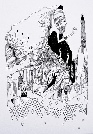 """Catch Key Pipeline pigment ink on paper 420 x 297 mm 2013   """"Blimps and fish, the size of storms, and those waving plants below, A sea of incognito dancers, delivering me the fears, my flight devours.""""  - The Islands of Niljora"""