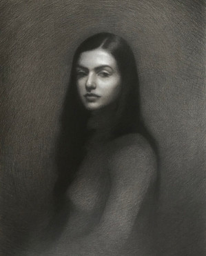 Queen of Subtleties 60 x 75 cm charcoal and white chalk on Arches hand toned paper Framed  Available