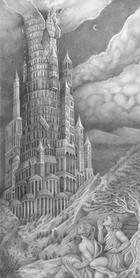 The Tower of Babel graphite on paper  Commissioned by The Sankt Marien Kirchengemeide, Germany
