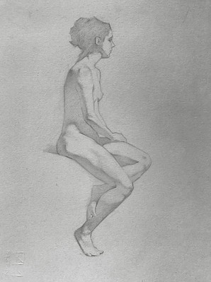 Seated Girl 25 x 28 cm graphite & chalk on toned paper  Available
