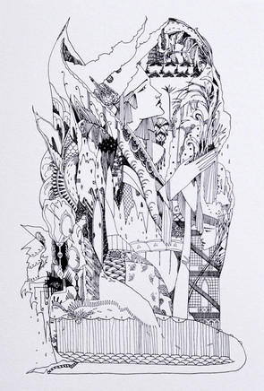 """My Beautiful Illusion 42 x 30 cm pigment ink on paper  SOLD  Private Collection, Tauranga, New Zealand   """"A merry go round, within her robes,  that mirrored back, All to announce, The death of the deceiver.""""  - The Islands of Niljora"""