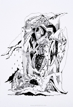 """Pouring Over Me 42 x 30 cm pigment ink on paper   """"I followed that raven head, like a magnet to my soul, My thoughts well ahead, of my rationale.  Horrifically green, and pouring over me.""""  - The Islands of Niljora"""