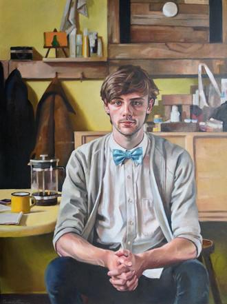 Lance 70 x 100 cm oil on belgian linen  Framed  Adam Portrait Award Finalist and National Tour 2014-2015
