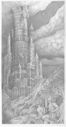The Tower of Babel graphite on paper  Published and comissioned by The Sankt Marien Kirchengemeide, Germany