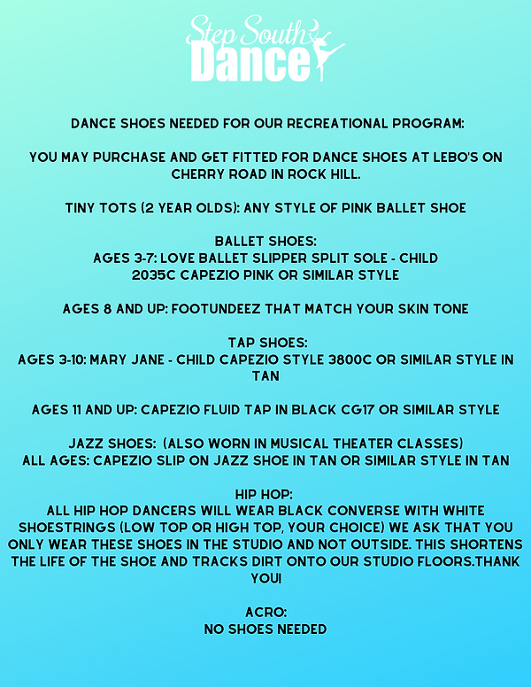 Dance Shoes Needed for our recreational