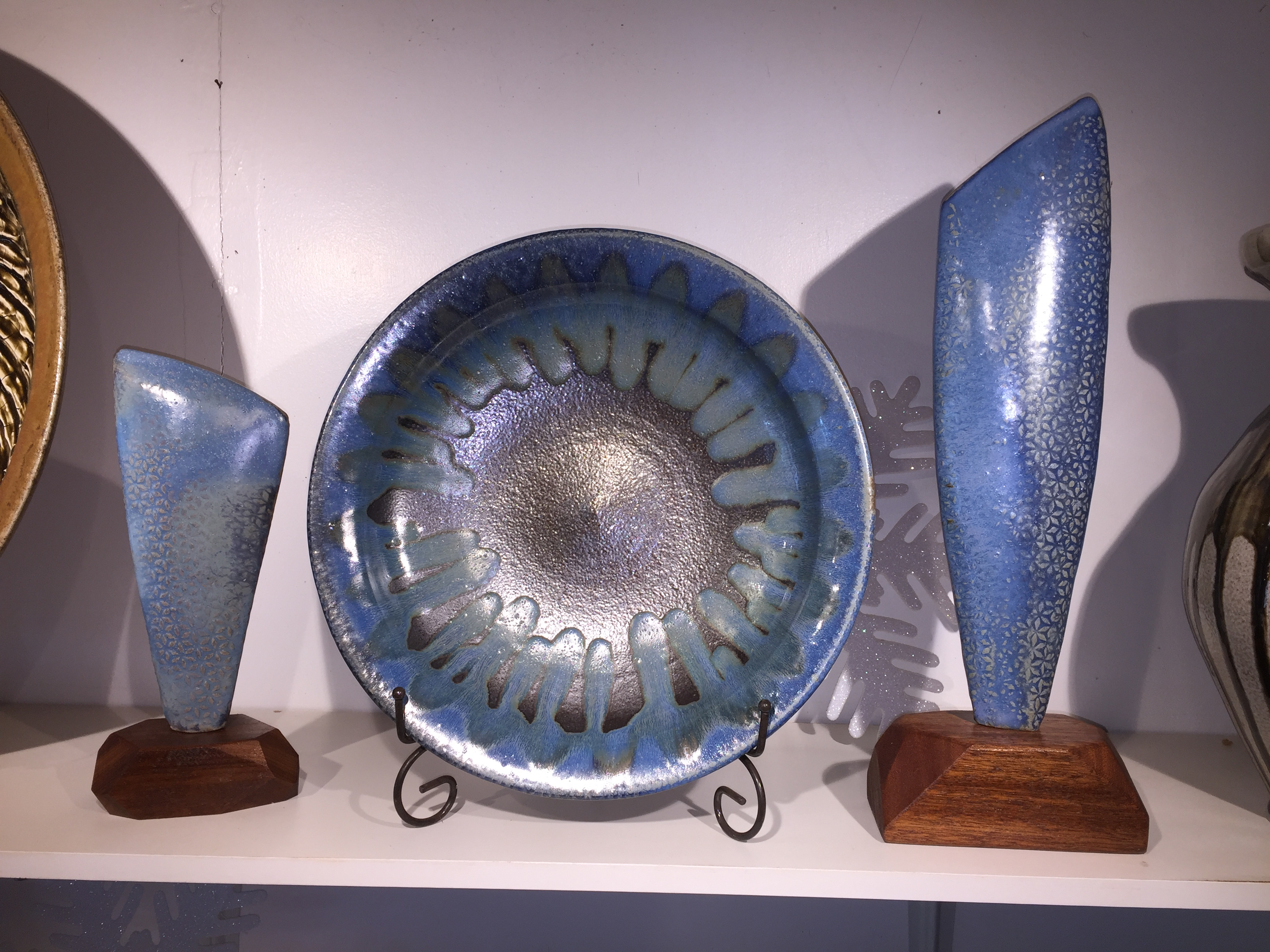 Blue Pottery Trio