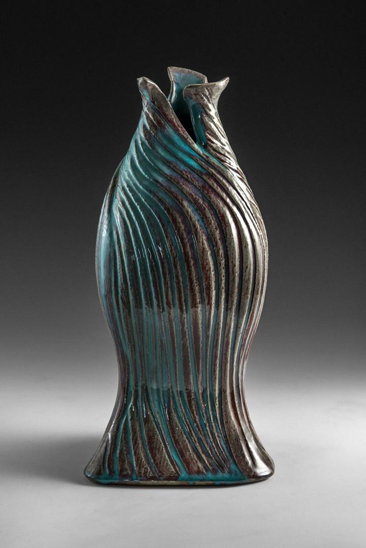 Textured Copper Green Vase