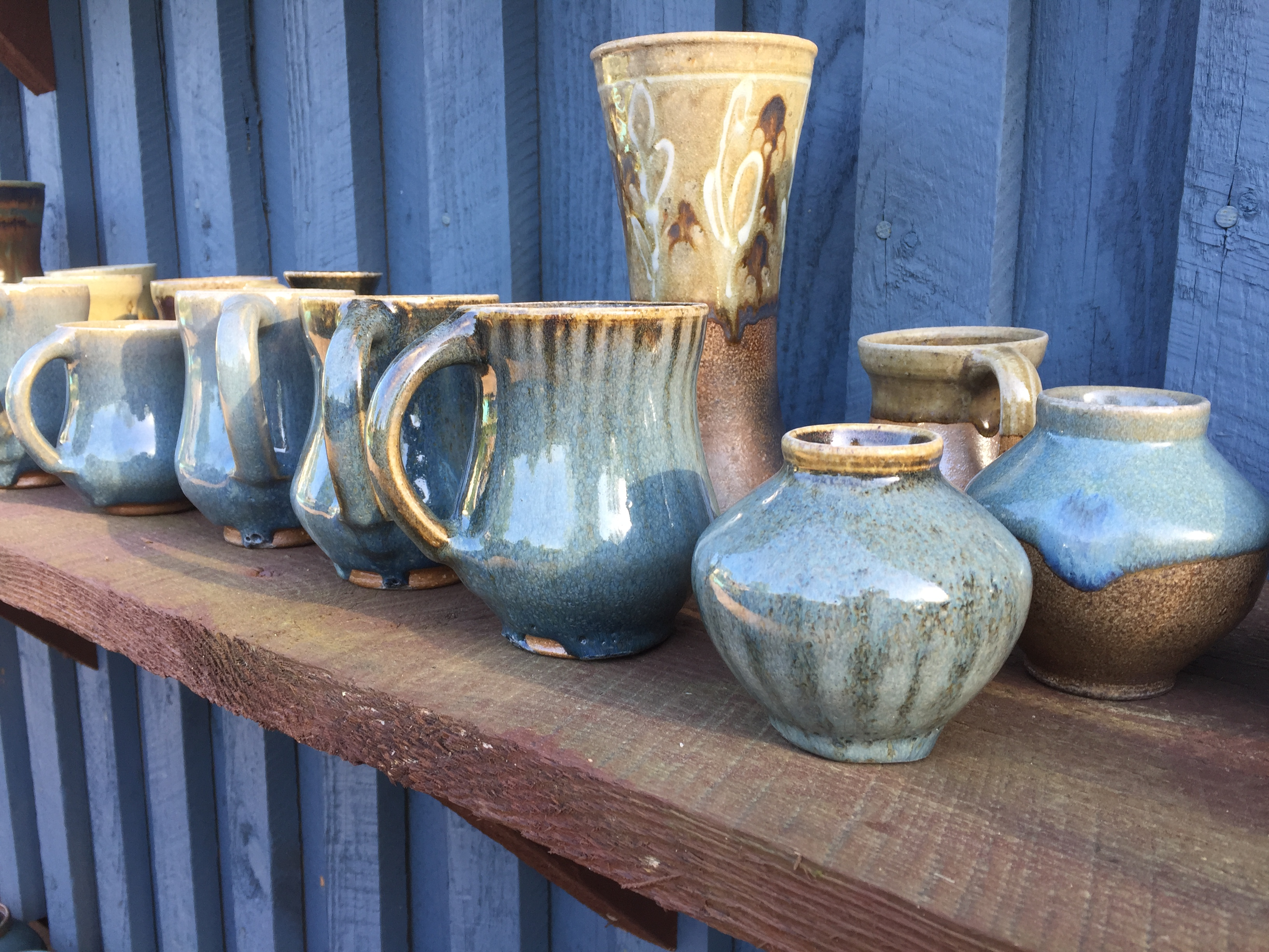 Blue Mugs and Vases