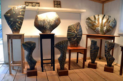 Side Fired Sculptures on Tables