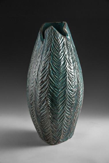 Textured Green Vase
