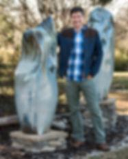 Joseph Sand with large sculptures - Dec