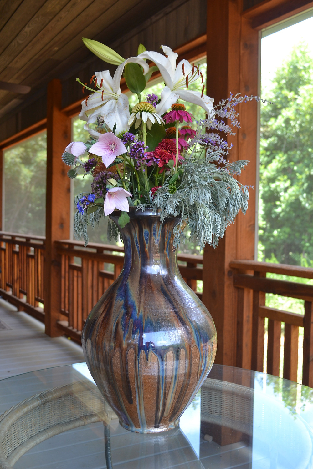 Joseph Sand Pottery Vase with Flowers