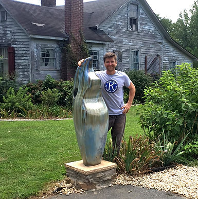 Joseph Sand with big pottery sculpture -
