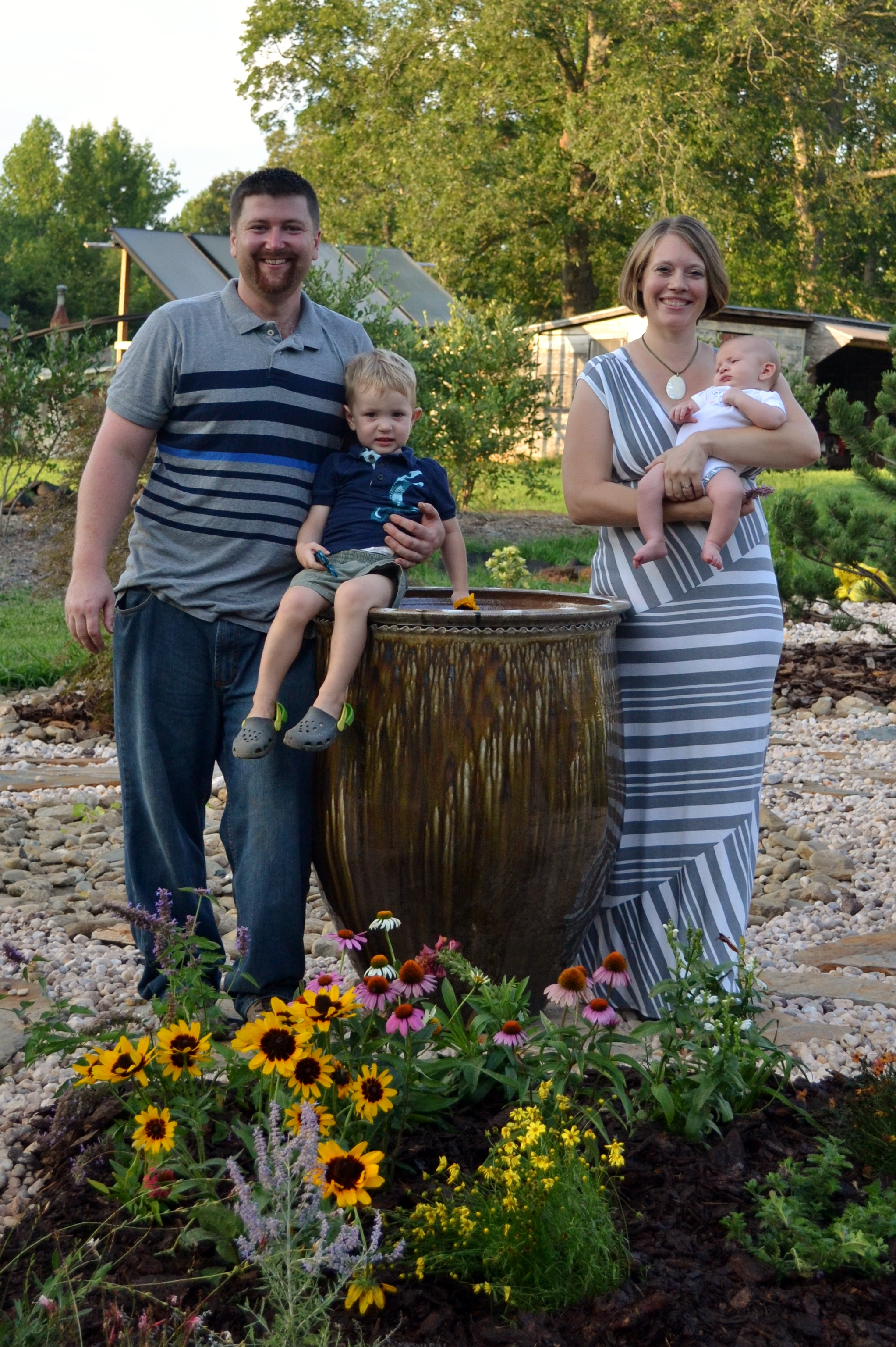Family with Large Planter