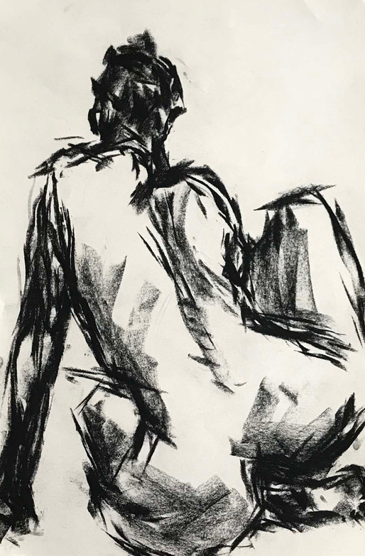Elnaz-Haghghi_Drawing_Nudes_30x40_Charcoal on paper_2018-1