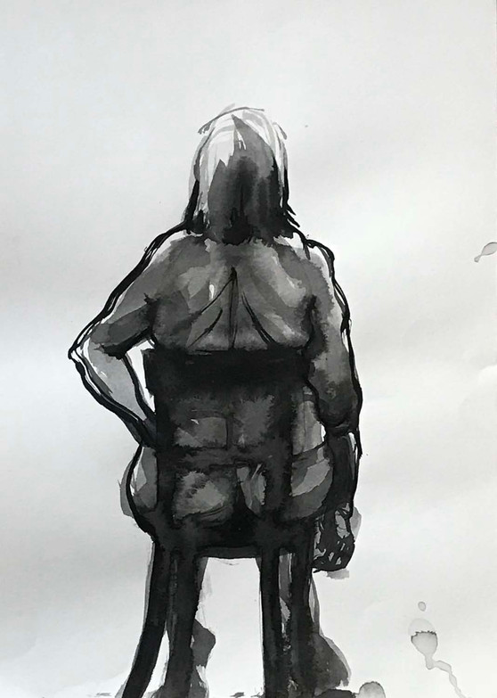 Elnaz-Haghghi_Drawing_Nudes_30x40_Ink on paper_2018-9