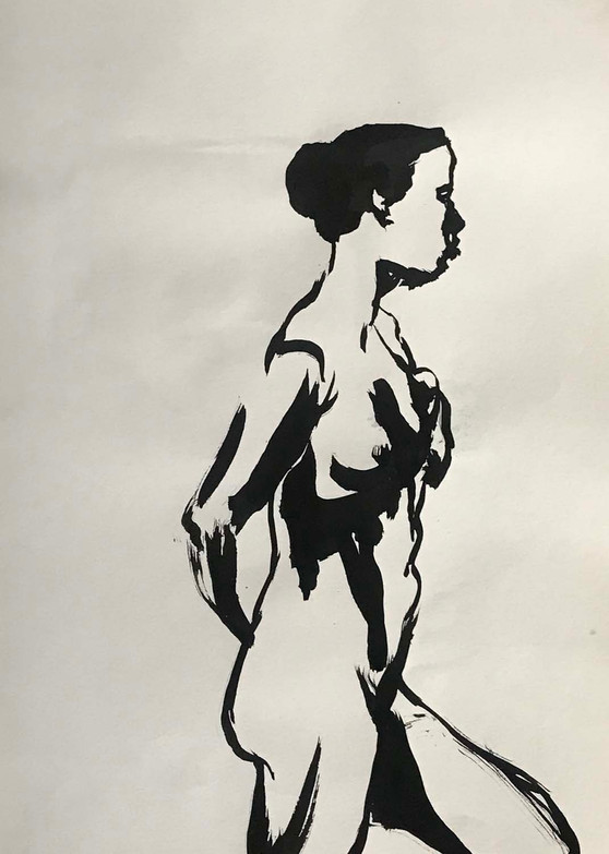 Elnaz-Haghghi_Drawing_Nudes_30x40_Ink on paper_2018-10