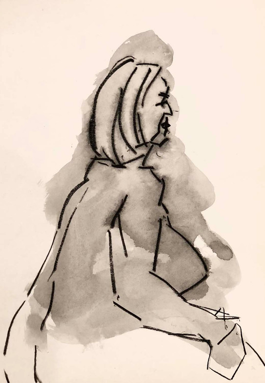 Elnaz-Haghghi_Drawing_Nudes_30x40_Charcoal and ink on paper_2018-1