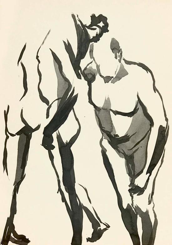 Elnaz-Haghghi_Drawing_Nudes_30x40_Ink on paper_2018-8